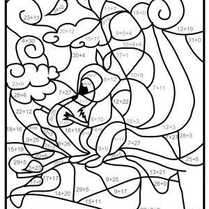 coloriage magique avec addition et dessin écureuil à imprimer
