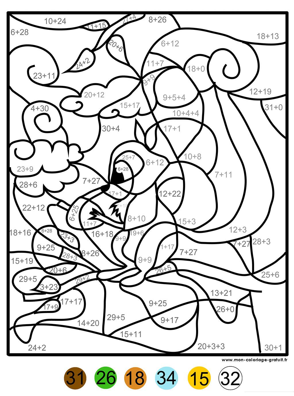 coloriage magique avec addition et dessin écureuil  imprimer