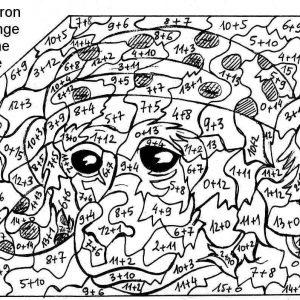 coloriage magique dessin singe avec addition à imprimer