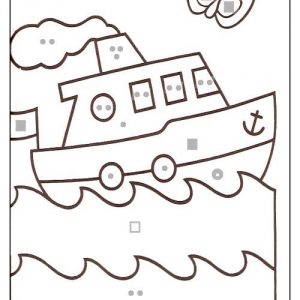 coloriage magique avec dessin bateau à imprimer