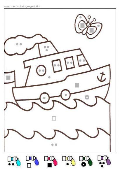 Coloriage magique bateau mon coloriage en ligne gratuit - Coloriage magique maternelle ms ...