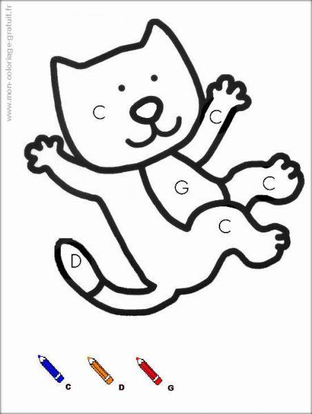 coloriage magique avec dessin chat à imprimer
