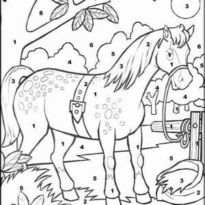 coloriage magique avec dessin cheval à imprimer