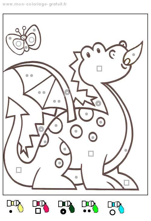 coloriage magique avec dessin dragon à imprimer