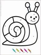 coloriage magique avec dessin escargot à imprimer