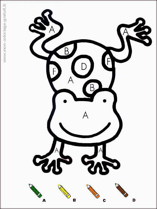 coloriage magique avec dessin grenouille à imprimer
