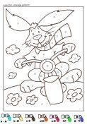 coloriage magique avec dessin de lapin à imprimer
