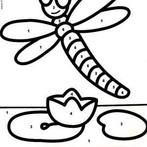 coloriage magique avec dessin libellule à imprimer