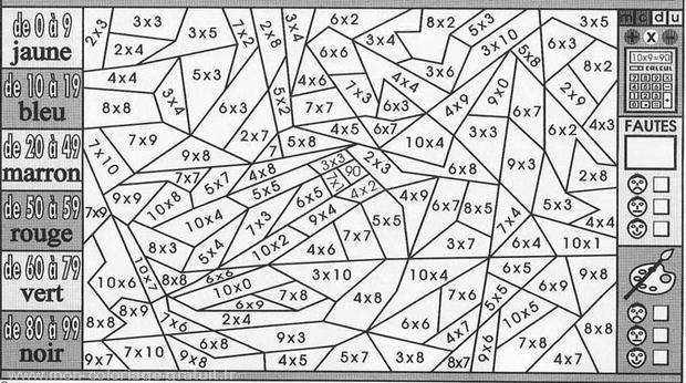 Coloriage magique table de multiplications et plages de résultats
