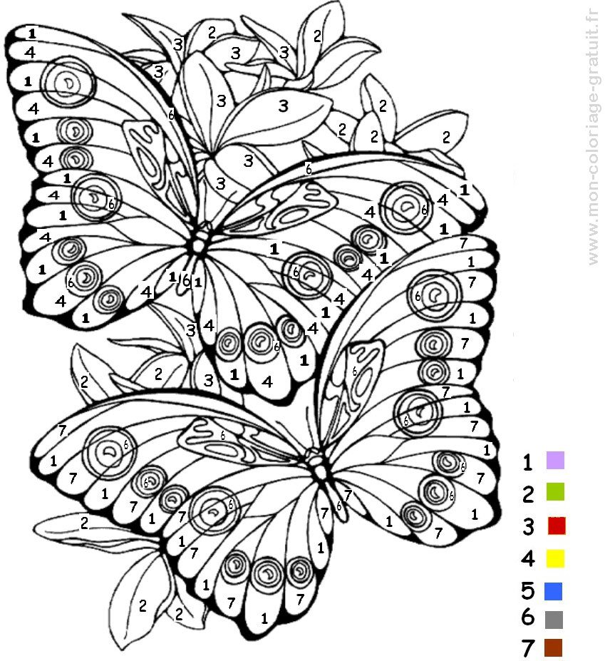coloriage magique papillon mon coloriage en ligne gratuit. Black Bedroom Furniture Sets. Home Design Ideas