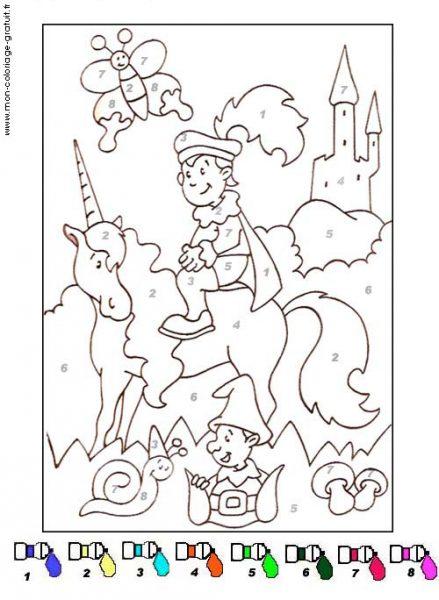 coloriage magique avec dessin prince charmant à imprimer