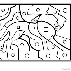 coloriage magique avec dessin lion à imprimer