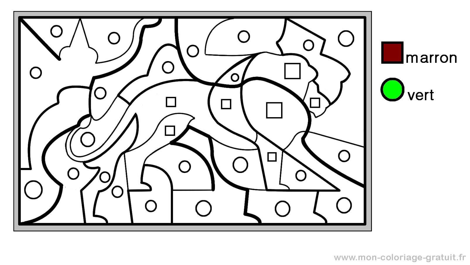 coloriage magique avec dessin lion  imprimer
