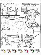 coloriage magique avec dessin vache à imprimer